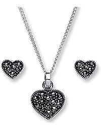 Parure collier et Boucles d'Oreilles - 1276SET - Femme - Argent 925/1000 3.0 Gr - Marcassite