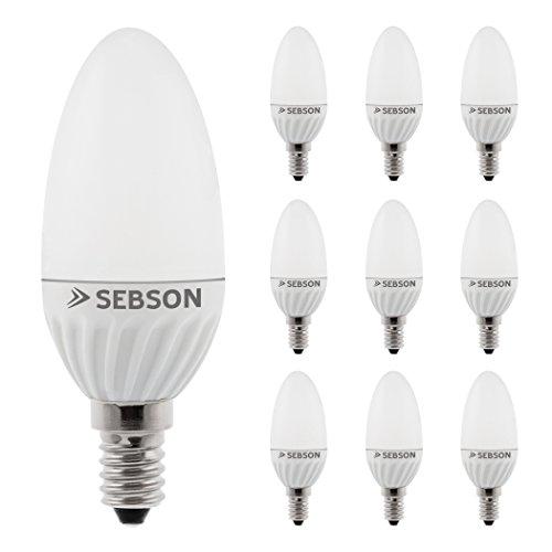 SEBSON® 10 x E14 Vela 3W LED (Equivale de 25W - Calido Blanca - 250lm - SMD LED - 160º Haz de luz - 230V AC)