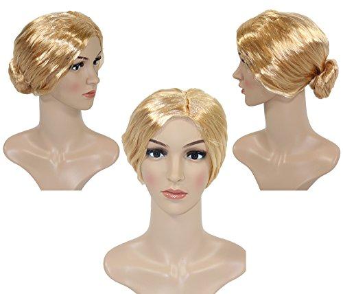 Foxxeo Blonde Dutt Perücke für Damen Karneval Fasching Party blond Lehrerin Oma streng (Strenge Lehrerin Kostüm)