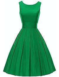 iLover Vintage Rockabilly gestreiften Kleid Hepburn Stil Partykleid Cocktailkleid 50er Jahr Abendkleid