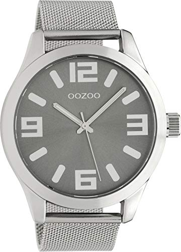 Oozoo Classic XL Herrenuhr mit Edelstahl Milanaiseband 47 mm Silbergraues Zifferblatt C9283