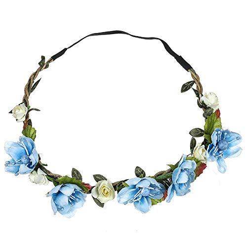 LUGOW Damen Stirnbänder Floral Flower Festival Hochzeit Garland Haar Stirnband Beach Party Haarband Headwraps Zubehör Haarreife Schweißableitendes Haarspangen Haargummis(Blau)