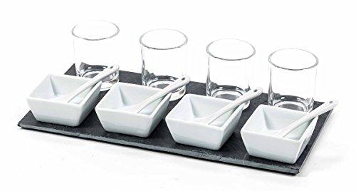 Servierschale, Appetizer-Set, 4 Schalen, 4 Löffel, 4 Gläser mit Schieferplatte , Größe ca. 30 x 15 cm -