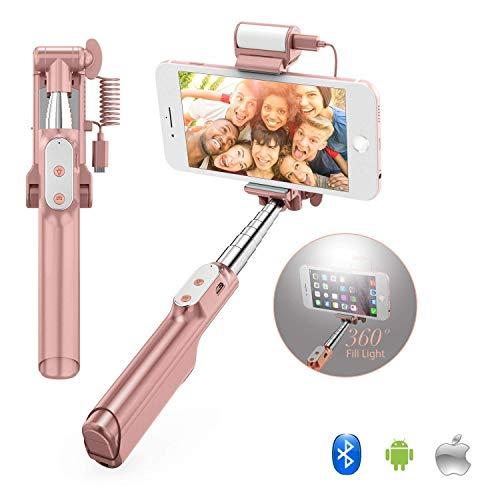 YOMRIC Bluetooth Mini Selfie Stick - Monopode Extensible à Main avec rétroviseur et Lampe de Remplissage Flash à LED pour iPhone Samsung Galaxy Note Téléphones Portables LG HTC Android Android