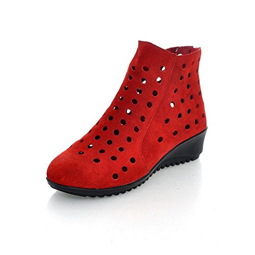 Adee Mesdames Zip Round-Toe givré Pompes Chaussures Rouge - rouge