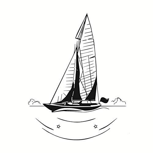 46x59cm, Wandaufkleber, Lustige Landschaft Dekorative Nautische Segelboot Silhouette Hängende Badezimmer Paste Pflege Dekorative Aufkleber Moderne Malerei Wandbild Tapete