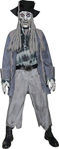 Smiffys, Herren Zombie-Geisterpirat Kostüm, Jacke, Hemd, Hose, Hut mit Dreadlocks, Maske und Handschuhe, Größe: L, (Erwachsene Street Zombie Herren Kostüme)