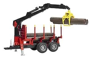 BRUDER - 02252 - Remorque forestière rouge avec chargeur et rondins de bois