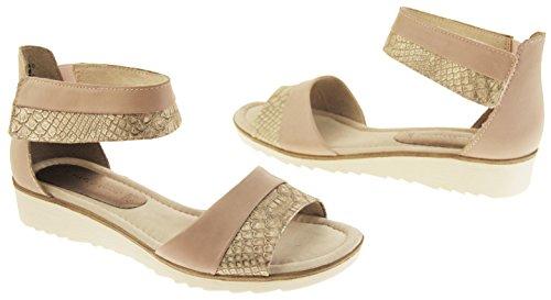 Damen Marco Tozzi Keil Gladiator Sommer Urlaub Sandalen Schuhe Stieg