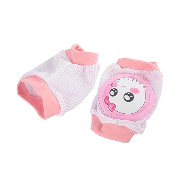 Almohadillas de rodilla para bebés, Unisex Súper Suave Respirable Malla 3D, ajustables de dibujos animados para Niños… 5