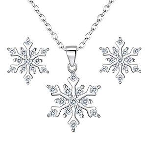 Clearine Damen 925 Sterling Silber Cubic Zirconia Lovely Schneeflocken Anhänger Halskette Stud Ohrstecker Ohrringe Schmuck Set Klar