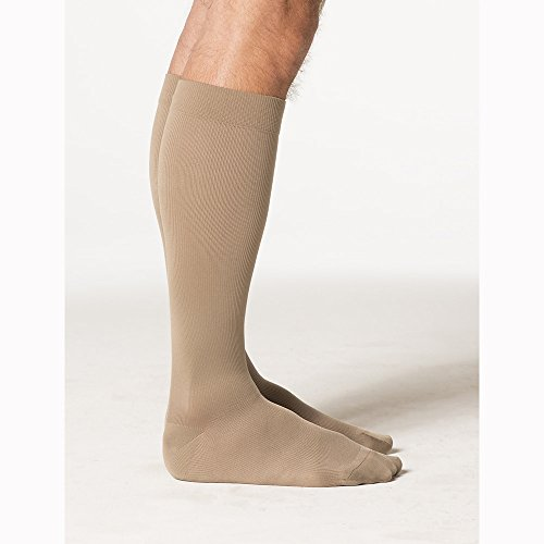 Sigvaris Midtown Microfiber 822CLSM32 20-30 mmHg Closed Toe Mens Calf, Large, Short - Tan-Khaki by Sigvaris -