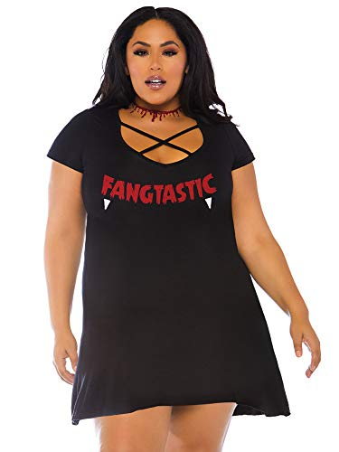 01 Jersey Kleid mitFangtastic Applikation, Damen, Schwarz, Größe 3X/4X (EUR 52-56) ()