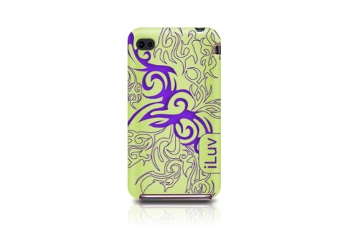 iLuv iCC723 Gamme Tribal Housse en silicone pour iPhone 4 Rouge Vert