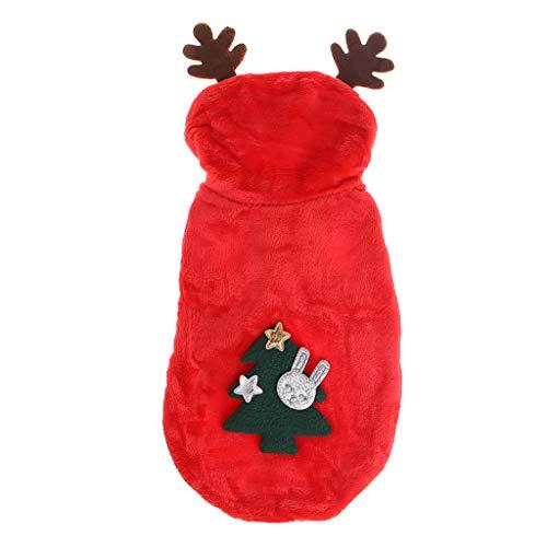 Biniwa Weihnachts-Kostüm für Haustiere, Weihnachtsbaum, rote Hut, Kleidung, Neujahr, für Hunde und Katzen, ()