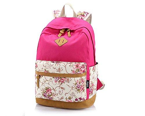 Hosaire 1X Ragazze Ladies Womens stampa tela zaino zaino scuola borsa Casual Borsa zainetto,rosa,Dimensioni: 30 * 17 * 44 centimetri Rose
