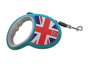 takestop Laisse Angleterre Flexi rétractable 3mètres ruban extensible rétractable extensible pour chien jusqu'à 15kg couleur aléatoire
