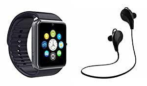 MIRZA Bluetooth GT08 Smart Wrist Watch & Bluetooth Headset for PANASONIC T4 1(Jogger Bluetooth Headset & GT08 Smart Watch Wrist Watch Phone with Camera & SIM Card Support Hot Fashion New Arrival Best Selling Premium Quality Lowest Price with Apps like Facebook,Whatsapp, Twitter, Sports, Health, Pedometer, Sedentary Remind,Compatible with Android iOS Mobile Tablet-Assorted Color)