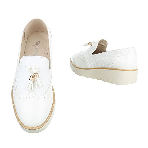 Ital-Design Slipper Damenschuhe Slipper Moderne Halbschuhe Weiß 62038
