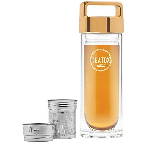 TEATOX Verre Thermo-Go Bottle 330ml - Bouteille isotherme double paroi - Infuseur Fruit thé - Infuseur à thé 2 en 1 (Gold)