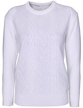 Jersey de punto jersey para mujer, grueso, manga larga, diseño clásico, tallas grandes