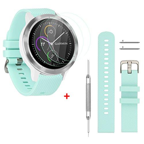 Rukoy 20mm substituição de cinto e protetor de tela de vidro temperado por 3 peças para Garmin Vivoactive 3 Smartwatch (Teal Verde, Pequeno)