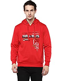 Griffel Latest New Designer Stylish High Quality Cotton Fleece Printed Sweatshirt/Pullover Full Sleeve With Hoodie For Men/Boys (Red)
