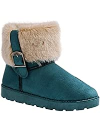 Minetom Mujer Botines Moda Botas De Nieve Calentar Botas De Invierno Talón Plano Zapatos