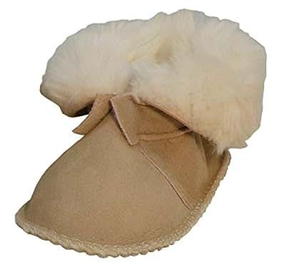 Plateau Tibet - ECHT LAMMFELL Baby Kinder Schuhe Booties Stiefel - HuggB, Sand - Gr. 16/17