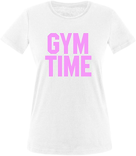 EZYshirt® Gym Time Damen Rundhals T-Shirt Weiss/Rosa