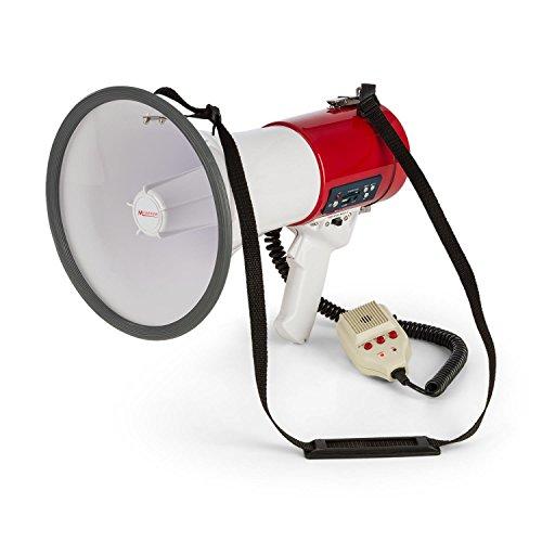 auna • MEGA080USB • Megáfono • Micrófono de Mano • Grabadora • 80W • MP3 • USB • Intemperie • Alcance 700 m • Correa de Hombro • Modo Habla, Sirena o silbido • A Pilas • Color Rojo