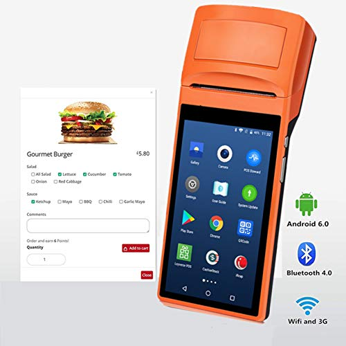 Handheld Android POS-Terminal | Android 6.0 3G WIFI Bluetooth MUNBYN | Eingebauter Thermodrucker | 1D Barcode-Leser | für Kleinunternehmen Belegdruck Royal Pda
