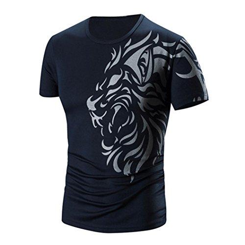 HUIHUI Oversize Vintage Herren T-Shirt Longsleeve Kurzarm Shirt Herren Slim Fit t-Shirt Baumwolle V-Ausschnitt Coole Trainings Sport T-Shirt Trachten Strassenbande Sweatshirt (L, - G-star-halloween