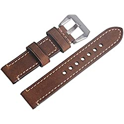 WEONE Brown Vintage Genuine Leather Watch Strap Watchband Wristwatch Band with Silvery Buckle