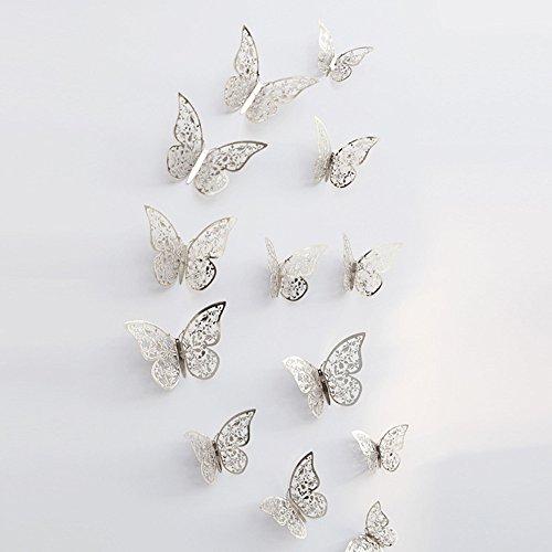 JiaMeng Decoración del hogar, 12 Piezas 3D Hueco Pegatinas de Pared Nevera de Mariposa para la decoración del hogar