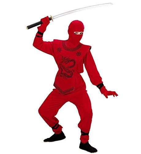 Kinderkostüm Red Ninja, Anzug und Maske, Größe 158 13-14 - Dschungel Ninja Kostüm