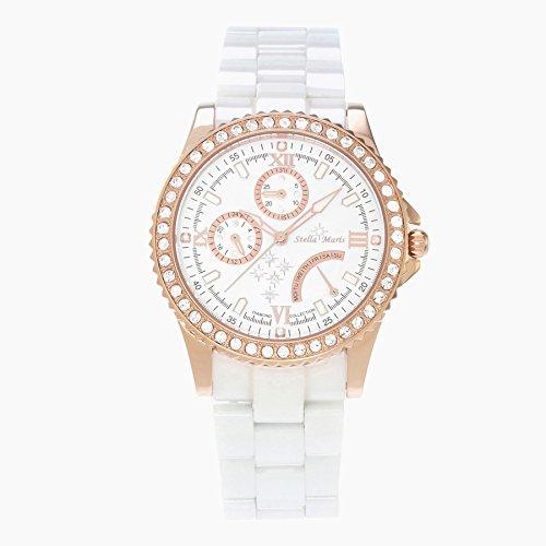 Stella Maris STM15N3 - Montre Femme Quartz Analogique Cadran blanc Bracelet Céramique blanc avec diamants et éléments Swarovski