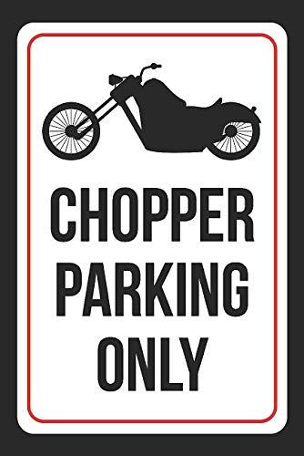 Monsety Lustiges Metallschild Chopper Parking Only, Schwarz Weiß Schwarz Bike Home Decoration Warnschild Warnschild (Garten-chopper)