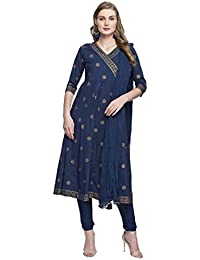 Haute Curry Womens V Neck Printed Churidar Suit