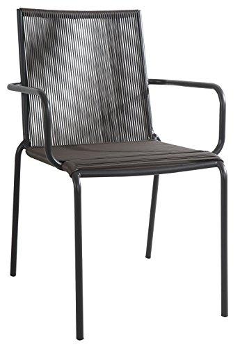Fauteuil de Jardin en Fer Anthracite et Fils en PVC Marron- A Usage Professionnel - Dim : H 78 x L 63 x P 60 cm
