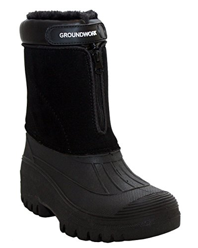 Groundwork Mens Durable Water Resistant Mid Calf Snow Rain Thermal Fur Lined Winter Mud Mucker Boots UK Sizes