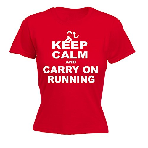 123t Women's Keep Calm and Carry On Running - Fitted T-Shirt Funny Christmas Casual Birthday Tee