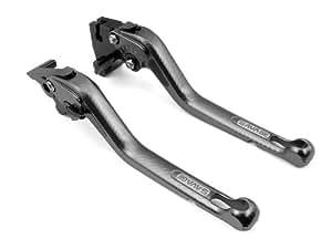 2 pcs moto OEM aluminium brossé 3D Frein de course longue de style et leviers d'embrayage ajustement gris pour Suzuki SV650/S 1999 2000 2001 2002 2003 2004 2005 2006 2007 2008 2009 2010 (S-650/F-14)