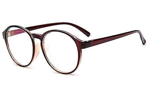 Küssen U Unisex Klassisch Horn gerunzelt Voll Runden Persönlichkeit Schüler Stil Augen Brille Rahmen Klare Linse (Braun)