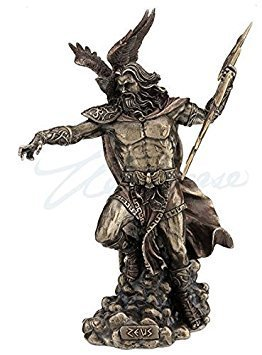 Zeus Dios Griego Holding Thunderbolt Estatua con águila