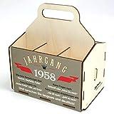 Bierträger aus Holz, Sixpack Bier, 6er Träger, Bier-Sechserträger, Biergeschenk, Geburtstag 60 Jahre, Geburtstagsgeschenk 60 Jahre, mit Gravur, mit Druck, aus Holz