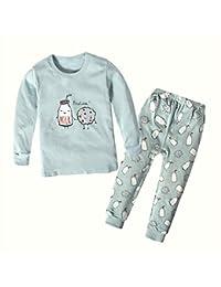 Yilaku Pijamas para niños Hermana y Hermano Pijamas de algodón de Manga Larga a Juego 2 Piezas Set Ropa de Dormir