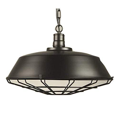 Lampada a Sospensione Paralume con Griglia Metallo Lampadari Stile Retro Industriale 1 Luce-Nero