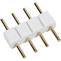 SODIAL(R) 5 x Conector de Cable Macho a Macho 4 PIN RGB Blanco para Tiras LED