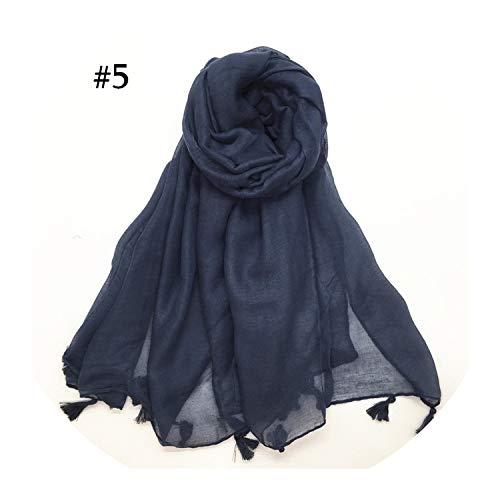 Hon-ey WE Schal Frauenquasten Hijab Schale Plain Maxi-Mode-Anhänger Schal weiche Foulard Wrap 1pc, Farbe 5